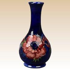 Moorcroft Pottery After 1987 Hibiscus Blue Cobalt Ballister Vase