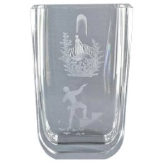 ORREFORS CRYSTAL Romeo and Juliet Etched Rectangle Vase