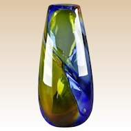 Studio Art Glass 1992 Multi-Color Hand Blown Swirl Art Glass Vase Signed WRK
