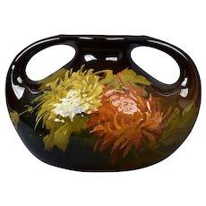 Lonhuda Pottery 1892-95 Denver Faience Hand Painted Mums Handled Vase #109
