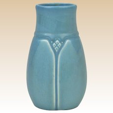 Rookwood Pottery 1920 Blue Mat Geometric Panel Vase #1825