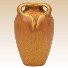 Rookwood Pottery 1925 Burnt Orange Mat 3 Handle Arts and Crafts Vase #2428