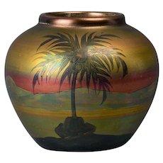 Weller Pottery 1920-25 LaSa Scenic Palm Tree Round Vase