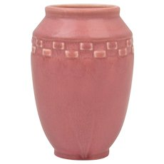 Rookwood Pottery 1924 Mat Pink Incised Block Arts and Crafts Vase #2284