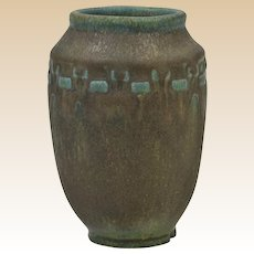 Rookwood Pottery 1916 Mat Blue Green Incised Block Arts and Crafts Vase #2284