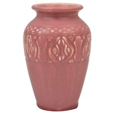 Rookwood Pottery 1928 Mat Pink Rose Incised Floral Band Arts and Crafts Vase #2870