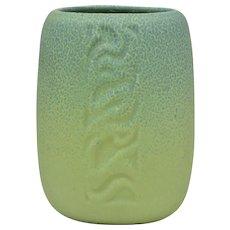 Rookwood Pottery 1931 Chartreuse Blue Frogskin Incised Snake Vase #1908