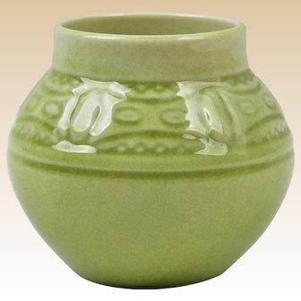 Rookwood Pottery 1958 Lagoon Green Round Vase #2873