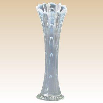Dugan Glass 1930's White Carnival Pulled Loop Vase
