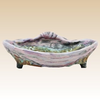 Weller Pottery 1920's Sabrinian Majolica Clam Shell Footed Soap Dish