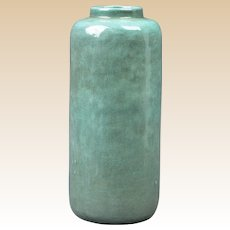Studio Art Pottery 1918 Glossy Green Arts Crafts Cylinder Vase Signed DKS