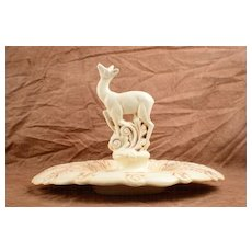 Red Wing 1930s 1940s Leaping Deer Doe Cream with Tan Accents Flower Frog with Plate