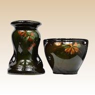 McCoy Loy-Nel-Art Gooseberry Leaves Jardiniere 11 inch 205 and Gooseberry Leaves and Berries pedestal 17  inch 2050