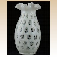 Fenton 1947 French Opalescent Coin Dot Ruffle Crimped Edge Vase #189