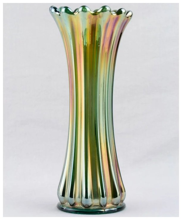 Westmoreland Ribbed Green Carnival Glass 9 14 Inch Vase Sold Ruby