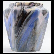 Weller 1914 Blue Bo Marblo Marbleized Octagonal Vase
