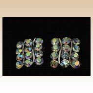 Vintage Lisner AB Aurora Borealis Crystal Clip Earrings