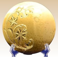 Large Elgin America Gold-tone Compact with Engraved Floral Design