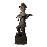 African Tribal Sculpture: Benin Bronze of a Portuguese Soldier