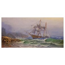 Ira W. Hamilton: Ships In Distress Antique Marine Oil Painting