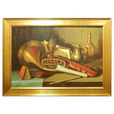 Bob J. Baker: Still Life With French Horn Oil Painting