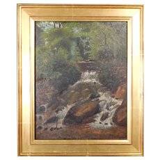 Antique Oil Woodland Waterfall American Landscape