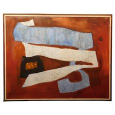 Original MCM Abstract Oil Painting by Robinson Murray: Blue Ribbon