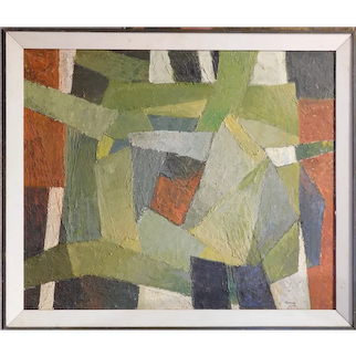Original MCM Abstract Modern Oil Painting by Robinson Murray: Greenery