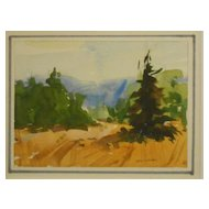 New England Summer Sunny Landscape Watercolor