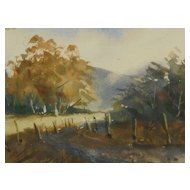 New England Fall Country Road Landscape Watercolor