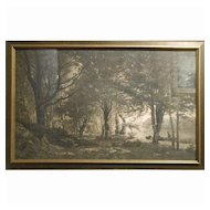 Antique Tonalist Photogravure Of French Landscape Oil Painting