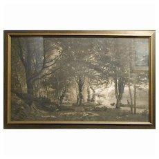 Antique Tonalist Photogravure Of French Landscape Oil Painting