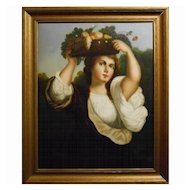 Antique c.1800 Italian Oil Painting Of Woman
