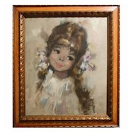 Mid-Century Romantic Popular Oil Painting Of A Pretty Girl