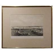 Antique Engraving Of Beverly MA In Designer Frame