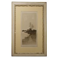 Antique Etching In White Shabby Frame