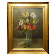 Antique Dutch Tulip Oil Still Life