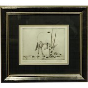 Wildlife Etching of an Oryx by D. Medley