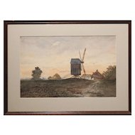 Antique (19th Century) Tonalist Dutch Watercolor With Wind Mill