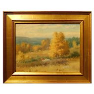 Golden Plein Air Landscape Oil Painting By Frank Darrah (1864-1951)