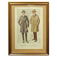 1920's Men's Fashion Illustration Tailor Sample Print