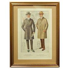 1920's Men's Fashion Illustration Tailor Sample Print