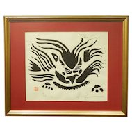 Flying Lion Woodcut Print Asian Motif