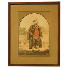 Hand Colored Antique Lithograph Of A Happy Man
