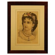Currier & Ives Josephine Lithograph In Original Frame