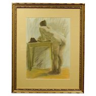 Female Nude Pastel Drawing Signed Cheyette