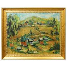 Sant:  1964 Oil Painting of a Hillside Village