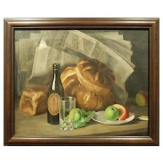 British Still Life Oil Painting By Mary Levy c.1940