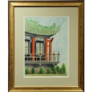 Japanese Pagoda Watercolor By Lillian Carpenter