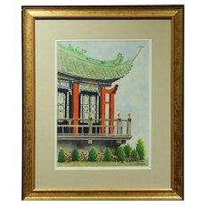 Japanese Pagoda Watercolor By Lillian Carpenter